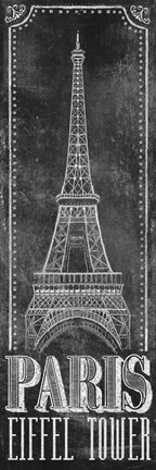 Framed Chalkboard - Eiffel Tower 2 Print