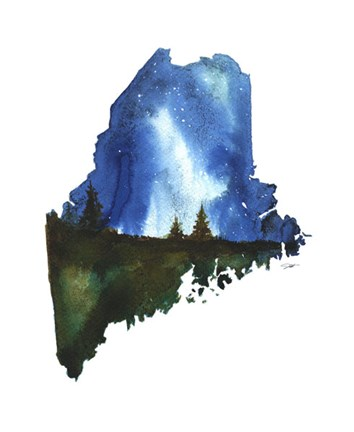 Framed Maine State Watercolor Print