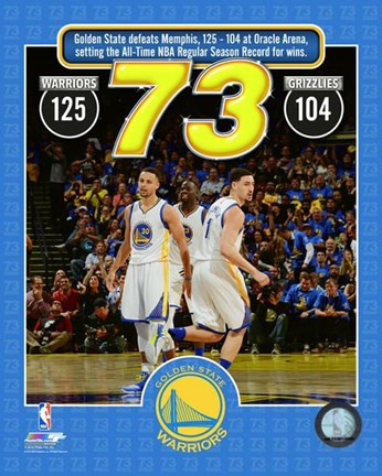 Framed Golden State Warriors set the NBA All-Time record for wins in a season at 73- April 13, 2016 Print