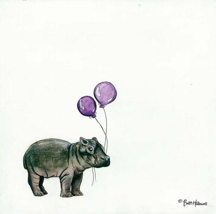 Framed nursery hippo print