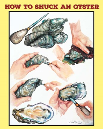 Framed How to Shuck an Oyster Print