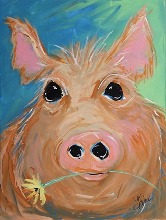Framed Pig with Yellow Flower Print
