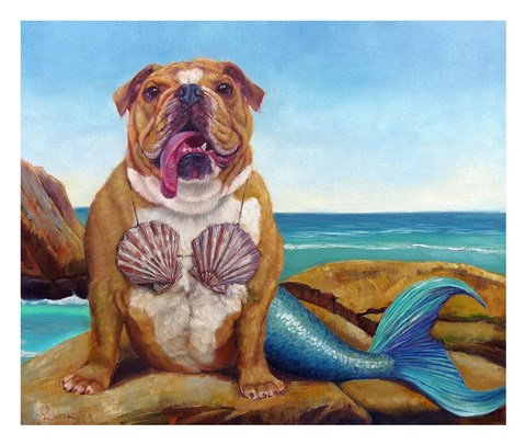Mermaid Dog Fine Art Print By Lucia Heffernan At