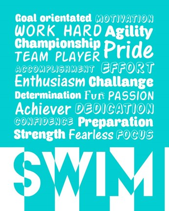 Framed Swimming Word Cloud - White Print