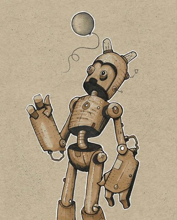 Framed Ink Marker Bot Balloon 6 Print