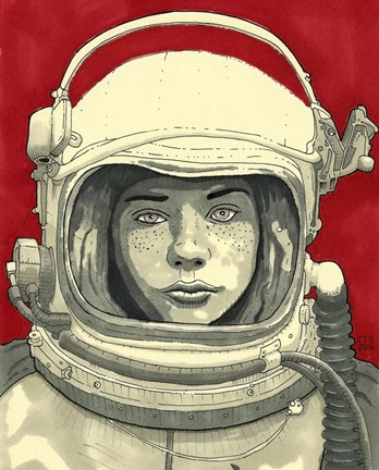 Framed Lady Cosmonaut Print