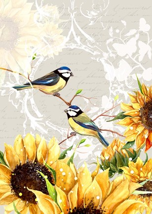 Framed Sunflower Birds II Print