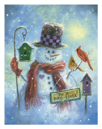 Framed Birds Lover Snowman Print