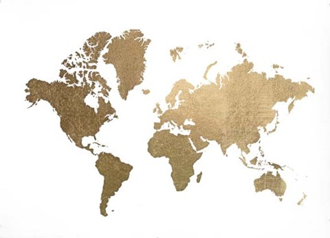 Framed Large Gold Foil World Map - Metallic Foil Print