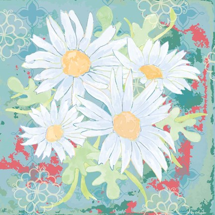 Framed Daisy Patch Teal I Print