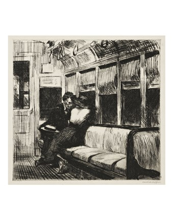 Framed Night on the El Train, 1918 Print