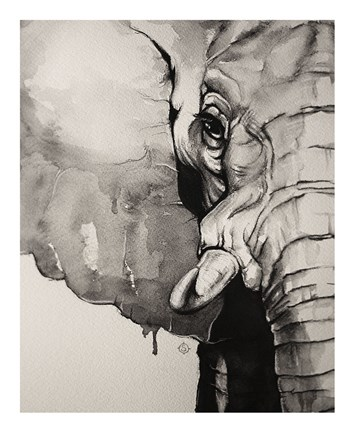 Framed Watercolor Elephant Print