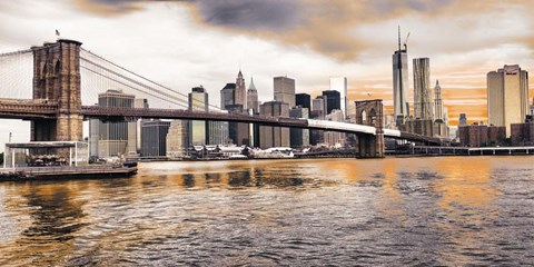 Framed Brooklyn Bridge and Lower Manhattan at sunset, NYC Print