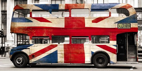 Framed Union Jack Double-Decker Bus, London Print