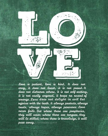 Framed Corinthians 13:4-8 Love is Patient - Green Print