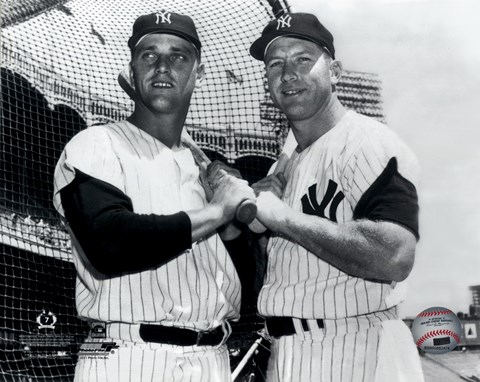 Framed Mickey Mantle & Roger Maris Posed Print