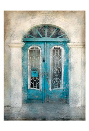 Framed Teal Doorway Print