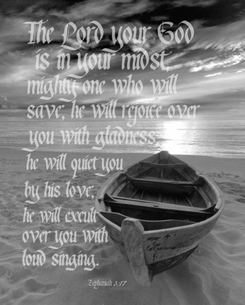 Framed Zephaniah 3:17 The Lord Your God (Beach Black & White) Print