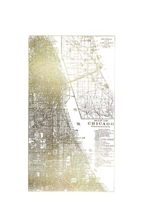 Framed Gold Foil City Map Chicago- Metallic Foil Print