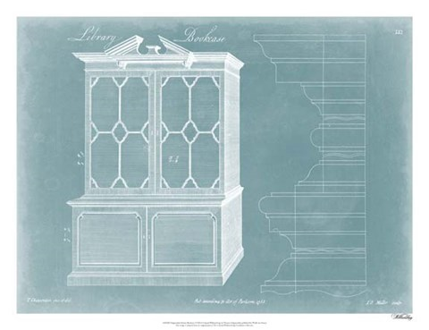 Framed Chippendale Library Bookcase I Print