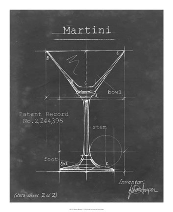 Framed Barware Blueprint V Print