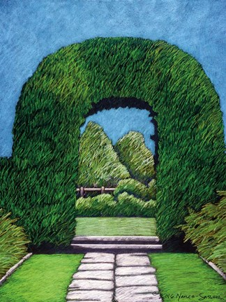 Framed Topiary Round Arch Print