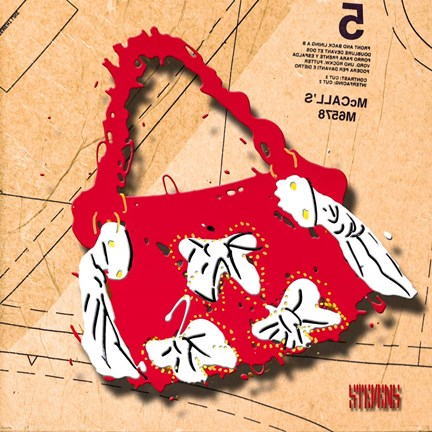 Framed Bow Purse White On Red Print