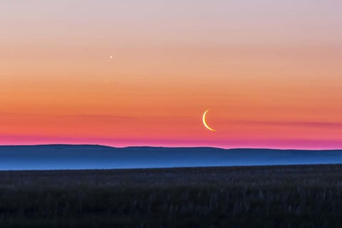 Framed Moon and Venus rising over the flat prairie horizon of Alberta, Canada Print