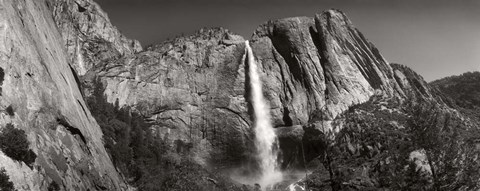 Framed Water falling from rocks in a forest, Bridalveil Fall, Yosemite National Park, California Print