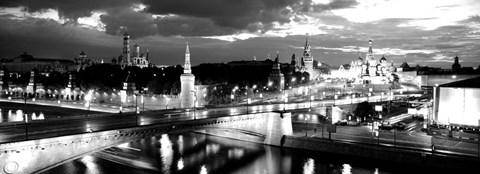 Framed City lit up at night, Red Square, Kremlin, Moscow, Russia Print