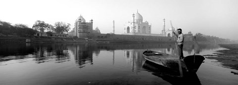 Framed Reflection of a mausoleum in a river, Taj Mahal, India Print