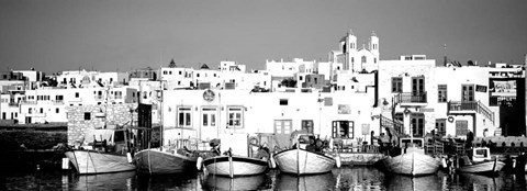 Framed Boats at the waterfront, Paros, Greece Print