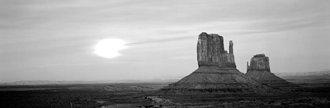 Framed East Mitten and West Mitten buttes at sunset, Monument Valley, Utah BW Print