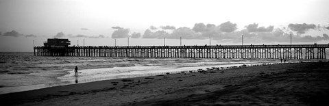 Framed Pier in an ocean, Newport Pier, Newport Beach, Orange County, California Print