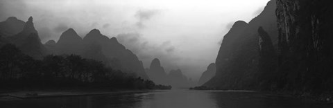 Framed River passing through a hill range, Guilin Hills, Li River, Yangshuo, China Print