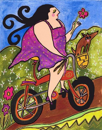 Framed Big Diva Riding Bicycle Print