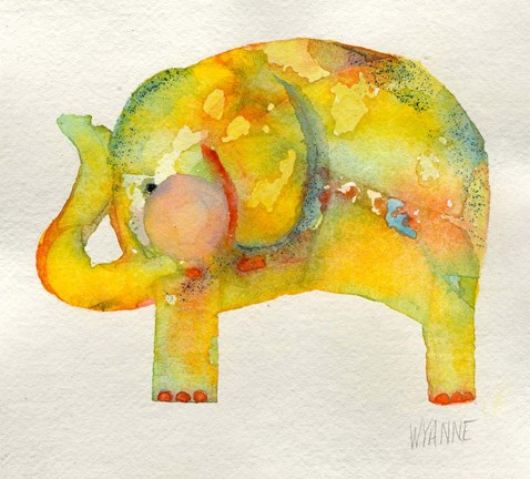 Framed Yellow Elephant Print
