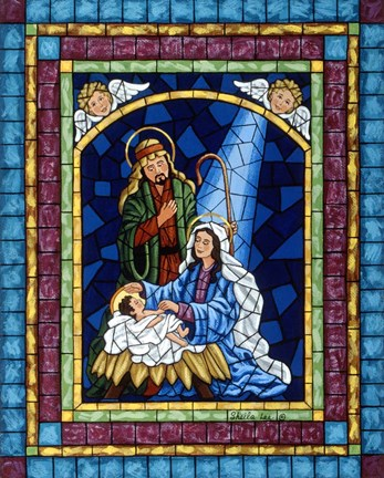 Stained Glass Nativity Fine Art Print By Sheila Lee At