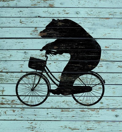 Framed Bear On Bike On Old Board Print