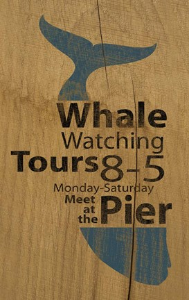 Framed Whale Sign On Wood 1 Print