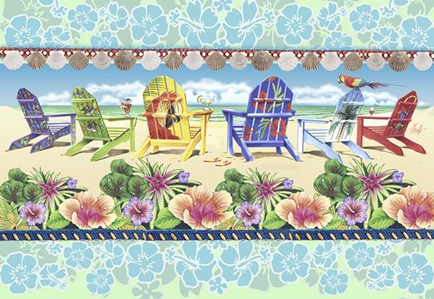 Framed Coastal Chairs Floral Print