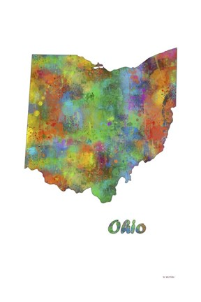 Framed Ohio  State Map 1 Print