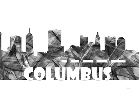 Framed Columbus Ohio Skyline BG 2 Print