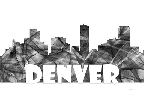 Framed Denver Colorado Skyline BG 2 Print