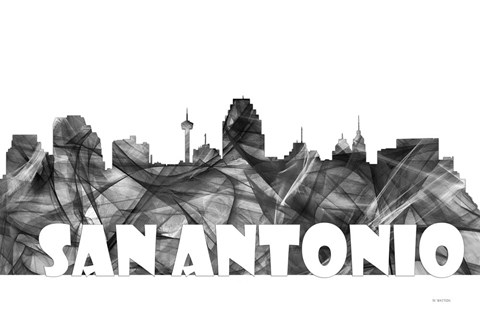Framed San Antonio Texas Skyline BG 2 Print