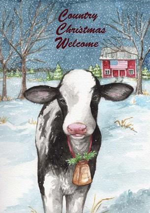 Christmas Cow.Melinda Hipsher Country Christmas Cow Flag