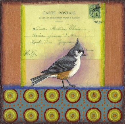 Framed Carte Postale Bird 2 Print