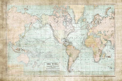 World Map Vintage 1913 Fine Art Print by Ramona Murdock at ...