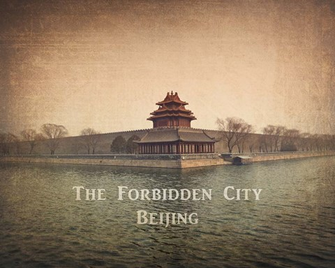 Framed Vintage The Forbidden City in Beijing, China, Asia Print