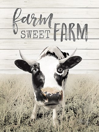 Framed Farm Sweet Farm Cow Print